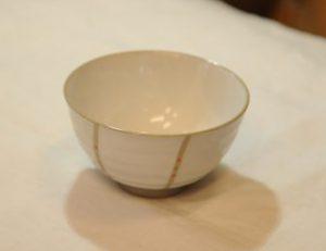 風紋飯椀(赤・内側)