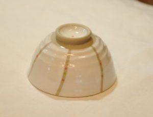 風紋飯椀(赤・底)