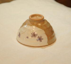 小花飯椀(紫・底)